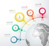 Infographic startup milestones time line vector template. Stock Image