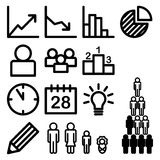 Infographic and statistic icons. Set of infographic and statistic in black color Royalty Free Stock Photos