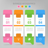 Infographic of step, flat design of business icon vector. Infographic template of four steps on squares, envelope of banner, arrows point down, flat design of Stock Photo