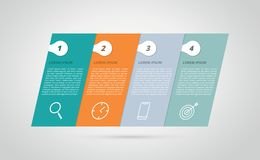 Infographic 4 step process horizontal tilted skew for business step - vector stock illustration