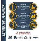 Infographic step by step brochure template. Business, finance. Infographic step by step brochure template or site banner with integrated icons for manufacture Royalty Free Stock Photography