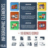 Infographic step by step template or site banner with integrated icons. Royalty Free Stock Photos