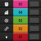 Infographic step up numbered options. black stairs. Vector Stock Photography