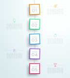Infographic 5 Steps In 3d Hanging Signs Template  Stock Photography