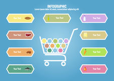 Infographic with supermarket trolley end foodstuff. With text place Royalty Free Stock Photo