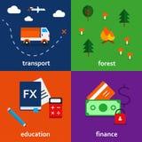 Infographic symbolsuppsättning av transport skogutbildning och finanstema Arkivfoto