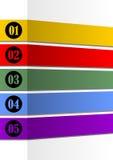 Infographic szablon dla prezentaci pięć kroków z pustymi ramami dla swój wiadomości w papierowego paska projekcie lub opcje Zdjęcie Stock