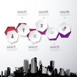Infographic szablon z okręgami, ikonami i miastami pięć, Obraz Stock