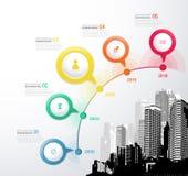 Infographic szablon z okręgami, ikonami i miastami pięć, Obraz Royalty Free