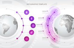 Infographic szablon z pięć okręgami Zdjęcia Royalty Free