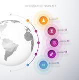 Infographic szablon z pięć okręgami Zdjęcie Stock
