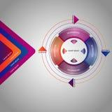 Infographic szablonu cztery kroki dla biznesu lub opcje Biznesowego okręgu szablon royalty ilustracja