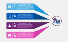 Infographic szablonu 4 kroka przekładni proces ikony Fotografia Royalty Free