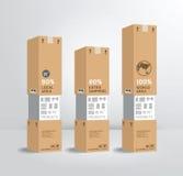 Infographic szablonu produktu wysyłki papierowego pudełka projekta styl/c Obrazy Royalty Free