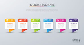 Infographic tab design vector and marketing template business. C. An be used for workflow layout, diagram, annual report, web design. Business concept with 6 Royalty Free Stock Photography