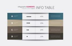 infographic Tabelle mit 4 Spalten Lizenzfreies Stockbild