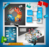 Infographic teamwork Banner Set and brainstorming with Flat style Stock Photography