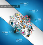 Infographic teamwork and brainsotrming with Flat style. A lot of design elements are included: computers, mobile devices, desk supplies, pencil,coffee mug Royalty Free Stock Photos