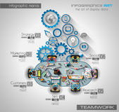 Infographic teamwork and brainsotrming with Flat style Stock Photos