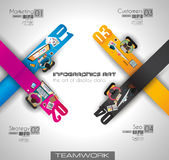 Infographic teamwork and brainstorming with Flat style Royalty Free Stock Photography