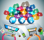Infographic teamwork and brainstorming with Flat style. A lot of design elements are included: computers, mobile devices, desk supplies, pencil,coffee mug Royalty Free Stock Photos