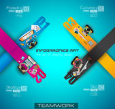 Infographic teamwork and brainstorming with Flat style. Stock Image