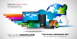Infographic teamwork and brainstorming with Flat style. A lot of design elements are included: computers, mobile devices, desk supplies, pencil,coffee mug Royalty Free Stock Photo