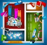 Infographic-Teamwork Fahne eingestellt und Brainstorming mit flacher Art Stockbild