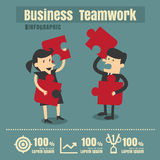 Infographic teamwork Jigsaw success Business on white background Royalty Free Stock Image