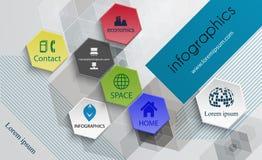 Infographic-Technologiedesign-Schabloneplakatschablone, Broschüre Stockfoto