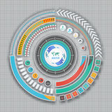 Infographic technologii projekta szablon na popielatym tle Fotografia Royalty Free