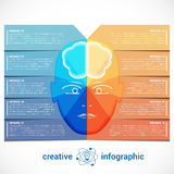 Infographic Template with abstract head, brain, place for text Royalty Free Stock Images