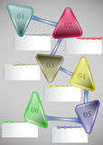 Infographic template with arrows and blank cards. Vector design colorful template with triangles Stock Photography