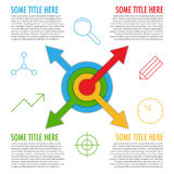 Infographic template with arrows from center and icons Royalty Free Stock Image