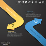 Infographic template with 2 arrows. 3d Modern business paper arrow style options template. Vector illustration. can be used for workflow layout, diagram, number Stock Illustration