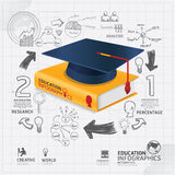Infographic Template with book and Graduation cap doodles line Stock Photo
