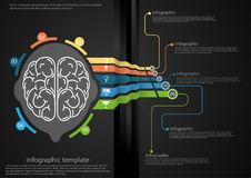 Vector Infographic template brain of the idea of the business of communication for Aqua success with lines, colorful graphics and Royalty Free Stock Photos