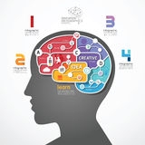 Infographic Template brain social line link concep Stock Photos