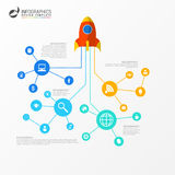 Infographic template. Business network concept with rocket Royalty Free Stock Photos