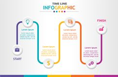 Infographic template for business with 6 steps, Timeline diagram, Business data presentation, Roadmap process chart. Vector infographic Royalty Free Stock Images