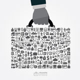 Infographic Template with businessman hand hold business bag jig Royalty Free Stock Photo