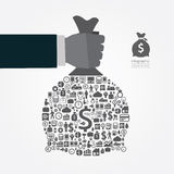 Infographic Template with businessman hand hold money bag icons Royalty Free Stock Images