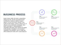 Infographic template bussiness process with five element stock photos