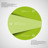 Infographic template of circle cut to three green parts Royalty Free Stock Photography