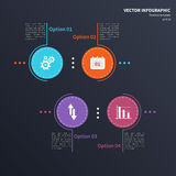 Infographic template with circular elements and business icons. Vector infographic template with circular elements and business icons. Modern stylized commercial Stock Image