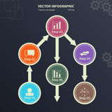 Infographic template with circular elements and business icons. Vector infographic template with circular elements and business icons. Modern stylized commercial Royalty Free Stock Photos