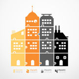 Infographic Template city tower jigsaw banner . concept vector i. Llustration stock illustration