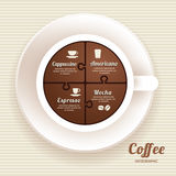 Infographic Template with Coffee Cup Jigsaw banner . concept. Royalty Free Stock Images