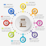 Infographic template with coffee shop icons Royalty Free Stock Images