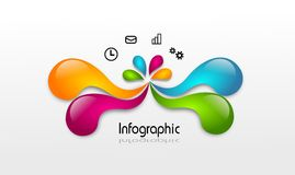 Infographic template colored drops Stock Photography